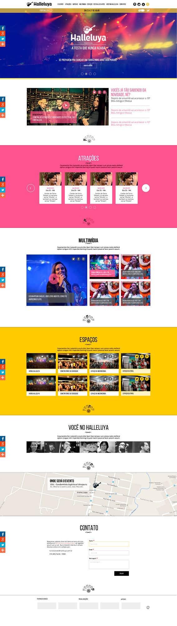 Página inicial dos sites institucionais dos eventos